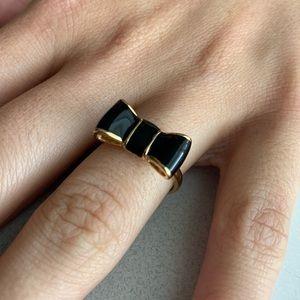 Kate Spade Gold & Black Bow Ring.